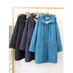 Оригинал Женское Loose Pure Color Fur с капюшоном Зимняя шерсть с длинным рукавом