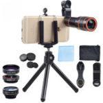 Оригинал Apexel APL-HS12XDG3 6 в 1 Универсальный 12X Zoom Телескоп для рыбий глаз Широкоугольный макрос для мобильного телефона