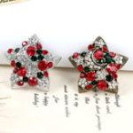 Оригинал 1 шт Новогодние рождественские подарки Звездные броши Мода Дизайн Красочные Rhinestone Christmas Brooch Pin для Женское