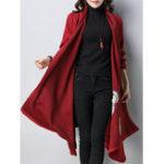 Оригинал Винтаж Вышивка Loose с длинным рукавом кардиган китайского стиля среднего теленка пальто