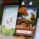 Оригинал iie create DIY Tin Коробка Секретный кукольный домик со светлым T-002 T-003 T-004 T-005 Подарок Home Office Decor