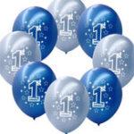 Оригинал 10штвкомплект1-йдень рождения синего мальчика Печатные надувные перламутровые шары Новогоднее украшение