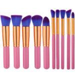 Оригинал 10шт Розовый Фиолетовый Soft Макияж Кисти Набор Набор Тени для век Shaping Blending Foundation Powder