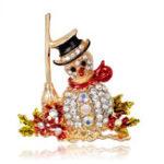 Оригинал Рождественский снеговик Санта-Клаус Модный свадебный букет цветов Шаблон Брошь Pin Rhinestone Inlaid Crystal Женское Свадебное Brooche