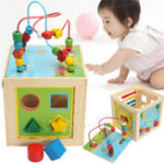 Оригинал 5 в 1 Kids Multi Function Colorful Wooden Activity Cube Игрушки Puzzle Bead Maze