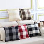 Оригинал KCASA KC-W08 Простые плед и полосатые подушки Обложки Throw Pillow Чехол для дивана-кровати Office Авто Cafe Home Decor