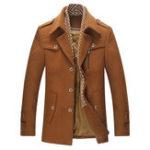 Оригинал Мужское дело Casual Wool Trench Coat Однобортный съемный шарф Средне-длинный куртка