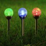 Оригинал Солнечная Powered RGB Crackle Glass Ball Spike Газон света Outsoor Сад Пейзаж Pathway Лампа