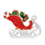 Оригинал MloveAcc Enamel Santa Claus Sleigh Авто с подарками Броши кристалл Hijab Pins Рождественский подарок Женское Детская брошь