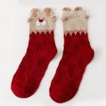 Оригинал Женское Cute Red Deer Christmas Cotton Носки Теплый дышащий Soft Трубка Носки Для рождественских подарков