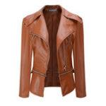 Оригинал Прохладный Женское Тонкий с длинным рукавом молнии PU кожаная куртка