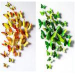Оригинал 12 шт ПВХ бабочка 3D стены наклейки Главная декор клей стены украшения