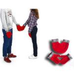 Оригинал Мужчины Женское Polar Fleece Couple Перчатки Зимние теплые влюбленные двойные перчатки Рождественский подарок