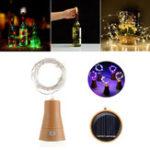 Оригинал Солнечная Powered 8LEDs Cork Shaped Silver Провод Винная бутылка Fairy String Light для рождественской вечеринки