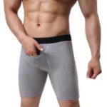 Оригинал Мужские повседневные хлопок длинное нижнее белье сплошной цветной чехол Breathable Boxers
