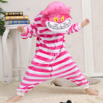 Оригинал Фланель Thickening kids Cute Cartoon Cheshire Кот Пижама Сиамская пижама