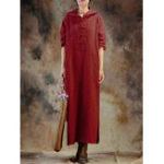 Оригинал Женское с длинным рукавом с капюшоном Чистый цвет Split Винтаж Maxi Dresses