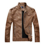 Оригинал Мужские флис Epaulet Молнии Карманы мотоцикл Faux Leather Jacket