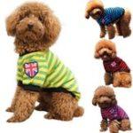 Оригинал PetСобакаКотПолосатаяодеждаФутболка Одежда для домашних животных Зимняя весна Pet Customes 3 цвета