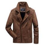 Оригинал Зимняя утолщенная кожаная кожаная куртка для мужчин с диагональю