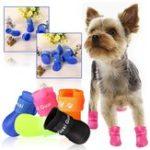 Оригинал 4Pcs / Lot Pet Собака Raining Shoes Водонепроницаемы Обувь для домашних животных для Собака Щенок Красочный Резиновый Ботинки Портативный Прочный Puppy