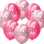 Оригинал 10закомплектРозовыйДевушка1-го дня рождения Печатные перламутровые шары Новогоднее украшение