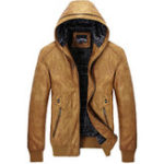 Оригинал Модные повседневные мотоцикл Искусственные кожаные куртки PU с капюшоном Байкерские пальто для мужчин