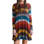Оригинал Casual Женское с длинным рукавом Multicolor Striped Mini Платье с карманом