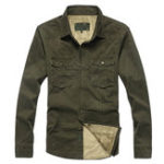 Оригинал Флис Толстый теплый опускающийся воротник с твердым карманом для сундуков Военный Рубашка для мужчин