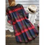 Оригинал Повседневная плед с длинным рукавом с длинным рукавом Женское Платье