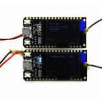 Оригинал 2Pcs Wemos® TTGO LORA32 868 / 915Mhz ESP32 LoRa OLED 0.96 дюймов Blue Дисплей Bluetooth Модуль платы расширения WIFI ESP-32 с Антенна