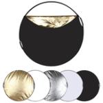 Оригинал  PULUZ PU5111 60 см 5 в 1 Складная фотостудия Рефлекторная доска Серебро Прозрачное золото Белый Черный