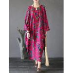 Оригинал Gracila Женское Цветочные печати O-образным вырезом Maxi Dresses