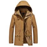 Оригинал Зимний толстый теплый флис с капюшоном Parkas Куртки для мужчин