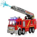 Оригинал СпрейВодянойпистолетFiretruckJuguetesПожарные пожарные машины для перевозки транспортных средств Авто Music Light Cold для детей
