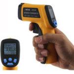 Оригинал ANENG AN320 Цифровой бесконтактный Лазер Инфракрасный Термометр Температурный пик ℃ / ℉ -50 ~ 330 ℃ Регулируемая излучательная способность