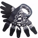 Оригинал Terylene Guitar Strap Ремень для электрической акустической гитары Bass Black & White