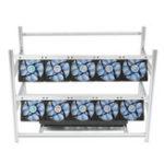 Оригинал Алюминий под открытым небом Горная рама Кадровая шахта Чехол Штабелируемая + 10 LED Вентиляторы для 14 GPU ETC BTH