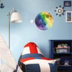Оригинал 30Cm Большой лунный свет в темноте Luminous DIY Наклейка на стену Living Home Decor