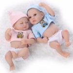 Оригинал Sleeping Mini Twins Reborn Baby Dolls 11 дюймов Полный Силиконовый Новорожденные младенцы Спящая девушка и мальчик