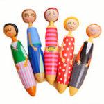 Оригинал Автоматическая шариковая ручка мультфильма девушка кукла Blue ink ballpen милый подарок для Школа Office