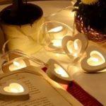 Оригинал  Батарея Powered Теплый белый 10LEDs Деревянный Сердце Shaped Fairy String Light для вечеринки Свадебное