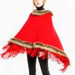 Оригинал Женское Tassel Solid Fur Poncho с капюшоном Теплые шарфы