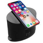 Оригинал LED Дисплей Зарядное устройство для беспроводного телефона Bluetooth Акустическая сигнализация Часы FM Радио TF / AUX Для iphoneX Samsung