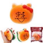 Оригинал YunXin Squishy Bownot Burger 11 см Случайное лицо Эмодзи медленно растет с коллекцией подарков для подарков