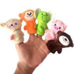 Оригинал 10Pcs Finger Puppets Soft Ткани для животных Кукла Ручные игрушки Плюшевые игрушки для детей Детские подарки для детей