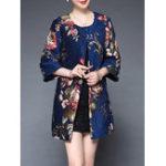 Оригинал Plus Размер Элегантный Женское Цветочные Печатные Пальто