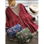 Оригинал Винтаж Женское Цветочные печати поддельные два Pieces с длинным рукавом пальто