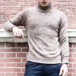Оригинал Теплый толстый свитер-пуловер Тонкий Fit Knitted Pullover