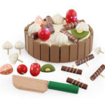 Оригинал Baby Kids Wooden Pretend Play Cutting Cake Toys Кухонные игрушки Play Food Play Set